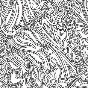 Paisley Lace Outline -  white black