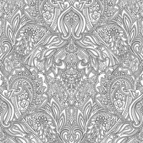 Linear Organic Paisley design - white black brown