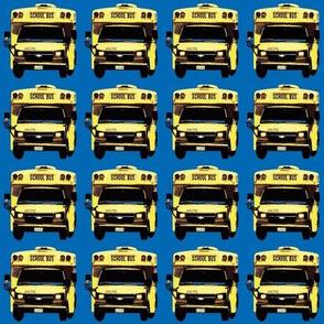little yellow school bus on blue