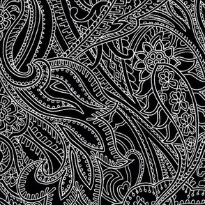 paisley lace outline black white