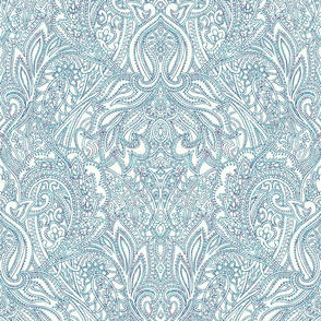 Paisley Lace Outline - blue and white