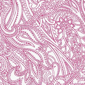Paisley Lace Outline - reddish pink