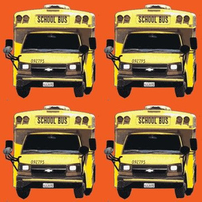 little yellow school bus on orange