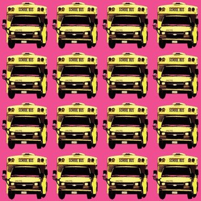 little yellow school bus on bright pink