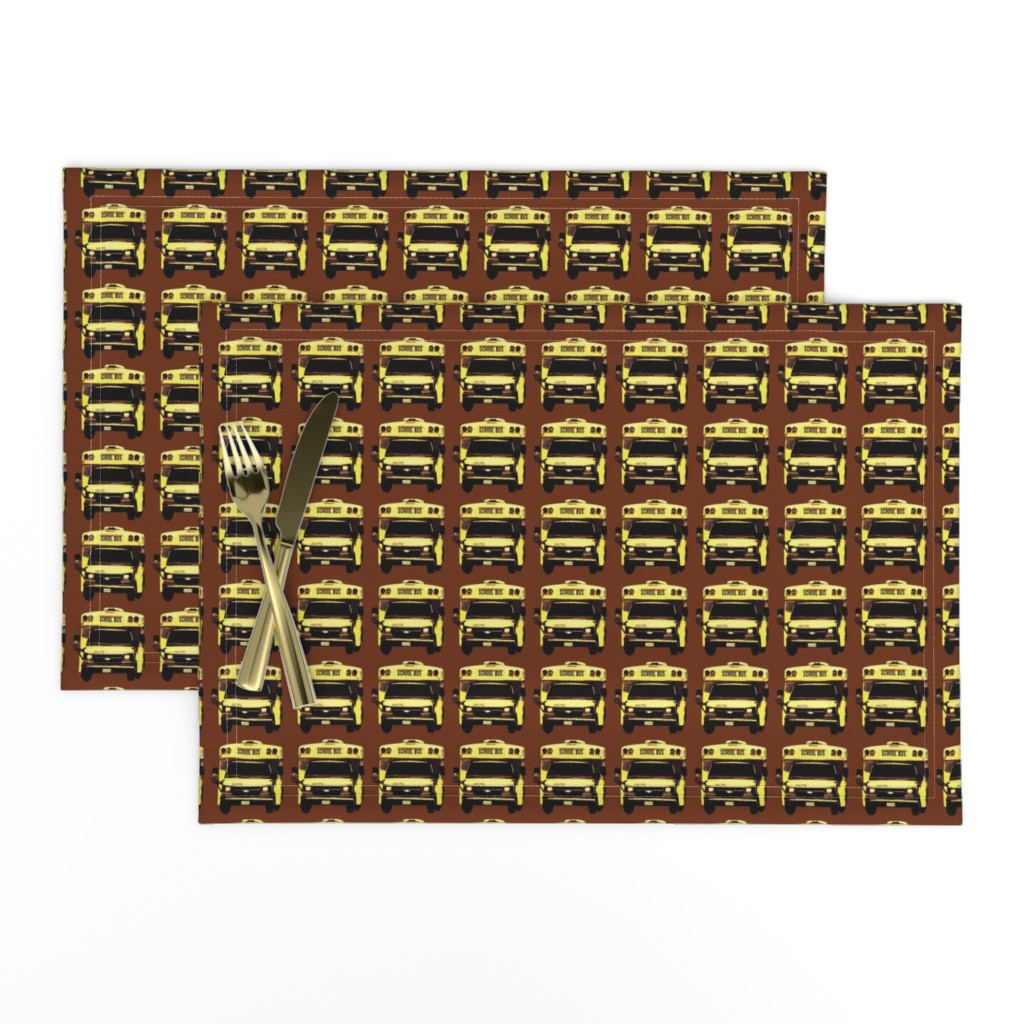 Lamona Cloth Placemats featuring little yellow school bus on brown by edsel2084
