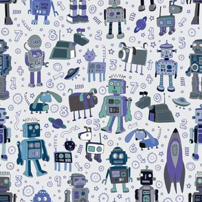 Robots in Space - Blue & Grey