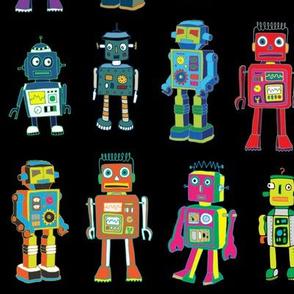 Robot line-up on black - Large