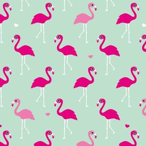 Cute summer birds flamingo beach theme in mint and pink