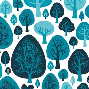 Cool winter woodland forest trees scandinavian garden nature blue