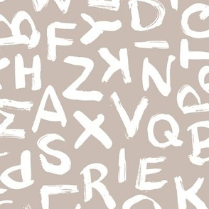 Raw brush strokes abc alphabet scandinavian abstract style beige white