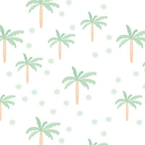 Summer palm tree beach coconut pastel bikini tropics illustration print in mint peach