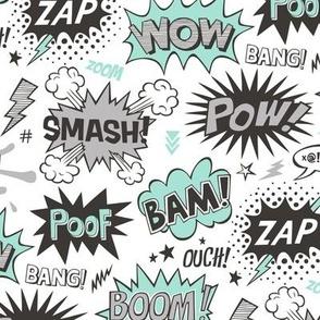 Superhero Comic Pop art Speech Bubbles Words Mint Green