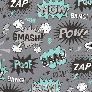 Superhero Comic Pop art Speech Bubbles Words Mint Green on Grey