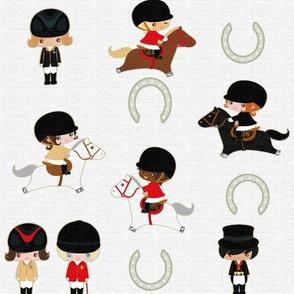 Equestrian Girls on White