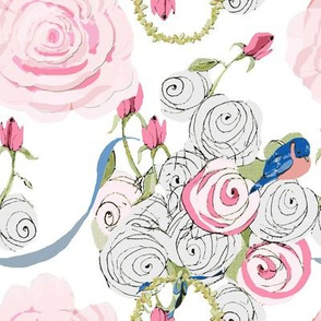 Bluebirds and Roses on Snow White