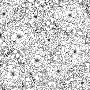 Full blooms outlined - Black and white