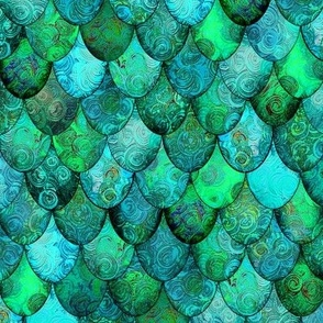 Greens + Aquamarine Mermaid or Dragon Scales, after Fabergé, by Su_G_©SuSchaefer