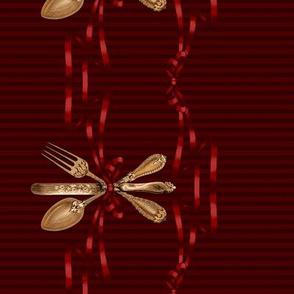 Cutlery border print (maroon)