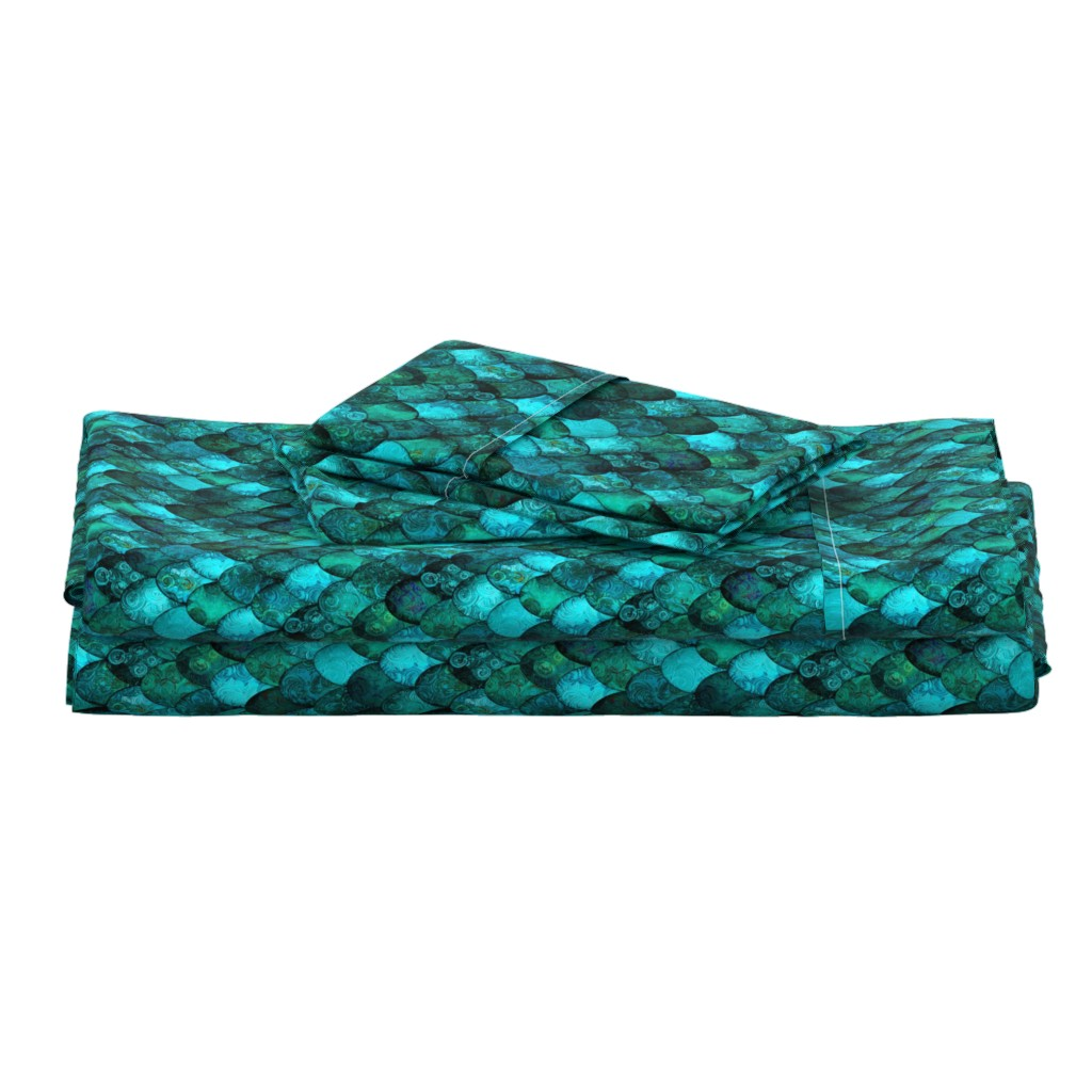 Langshan Full Bed Set featuring Dark Teal Mermaid or Dragon Scales, after Fabergé, by Su_G_©SuSchaefer by su_g