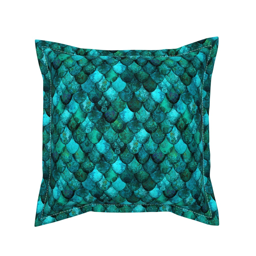 Serama Throw Pillow featuring Dark Teal Mermaid or Dragon Scales, after Fabergé, by Su_G_©SuSchaefer by su_g
