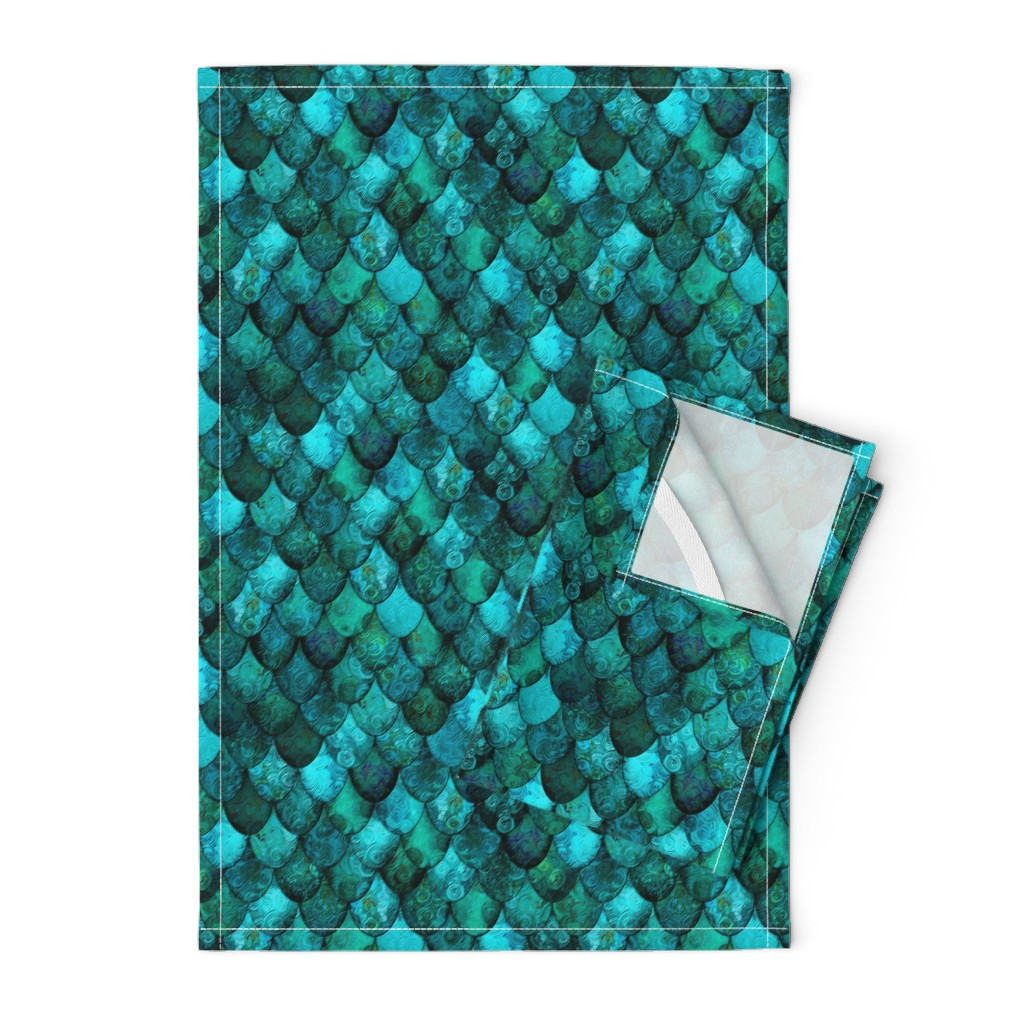 Orpington Tea Towels featuring Dark Teal Mermaid or Dragon Scales, after Fabergé, by Su_G_©SuSchaefer by su_g