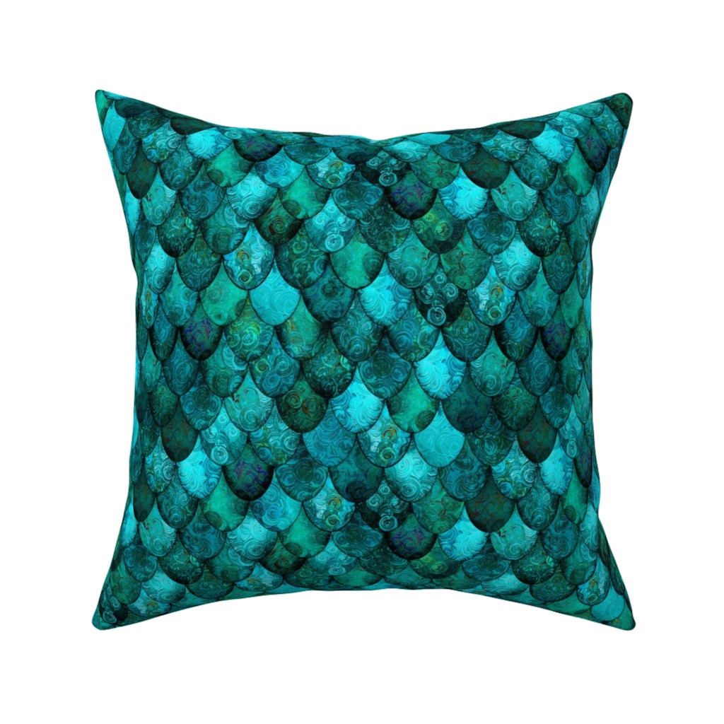 Catalan Throw Pillow featuring Dark Teal Mermaid or Dragon Scales, after Fabergé, by Su_G_©SuSchaefer by su_g
