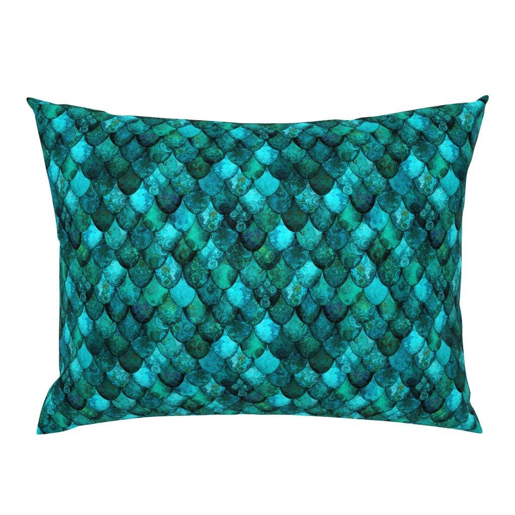 Campine Pillow Sham featuring Dark Teal Mermaid or Dragon Scales, after Fabergé, by Su_G_©SuSchaefer by su_g