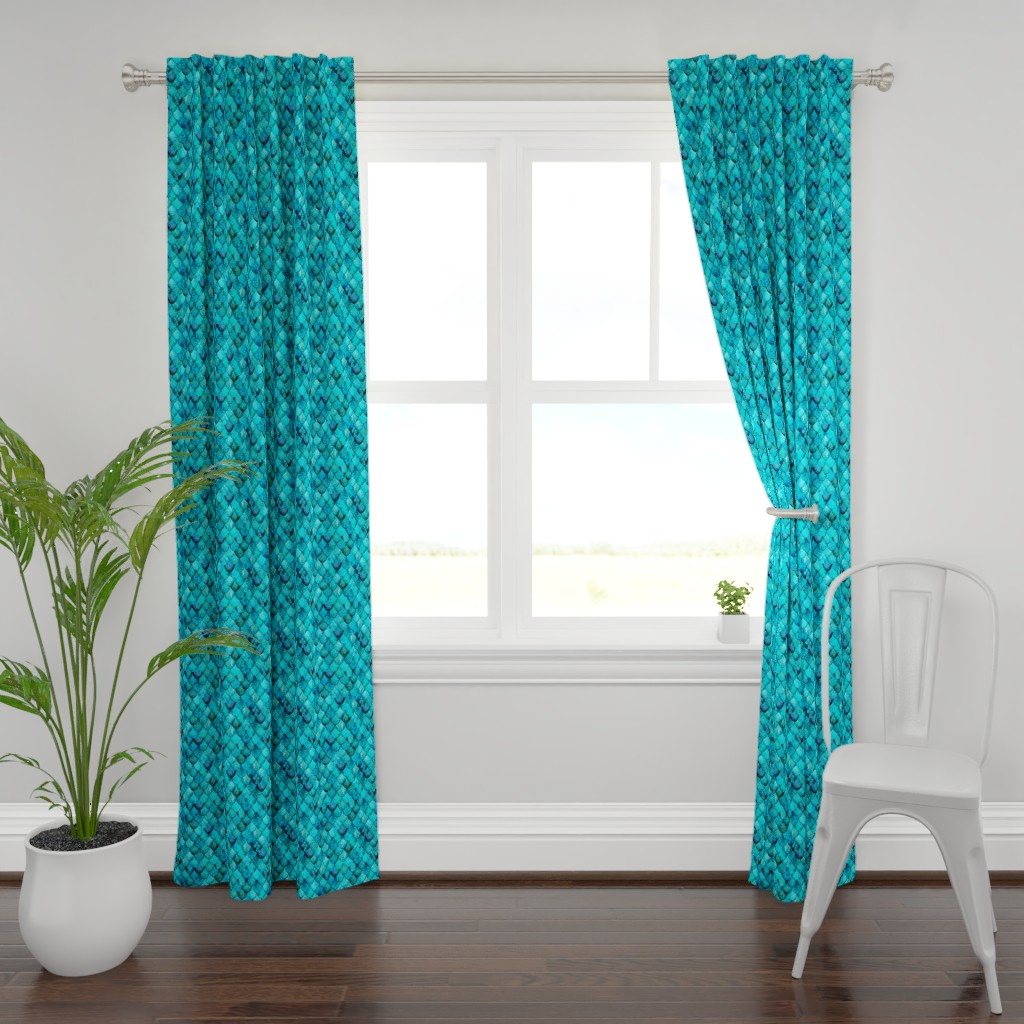 Plymouth Curtain Panel featuring Aqua + Turquoise Mermaid or Dragon Scales by Su_G_©SuSchaefer by su_g