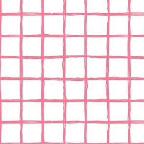 Abstract geometric pink and white checkered square stripe trend pattern grid