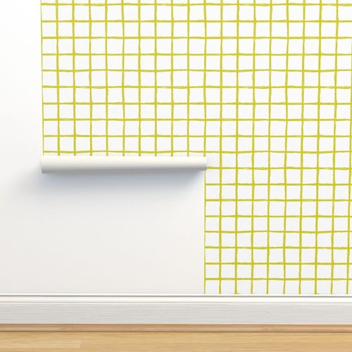 Wallpaper Abstract Geometric Yellow And White Checkered Square Stripe Trend Pattern Grid