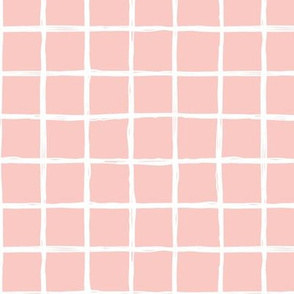 Abstract geometric peach pink square checkered stripe trend pattern grid