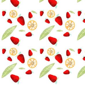 Orange Strawberry leaf fabric