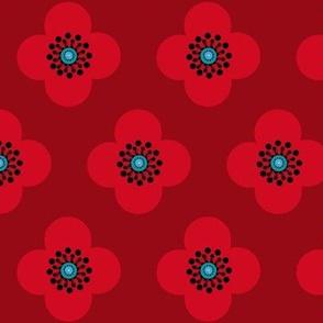1960s retro flower//  Red Poppy  Flower Scarlet Red Flounce