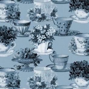 Teacups (blue / mono)