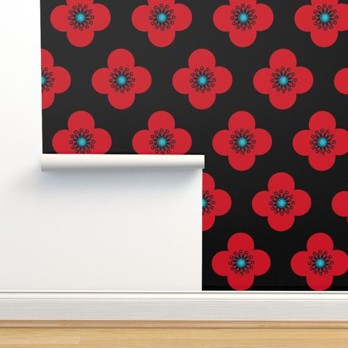 Wallpaper 1960s Red Poppy Geometric Floral Drama Queen
