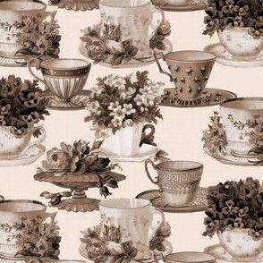 Teacups (sepia / mono)
