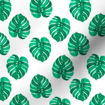 Monstera Palm Leaf Watercolor Green Trop Spoonflower