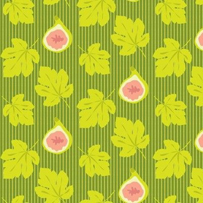 Leaf Leaves Fig Fruit || Peach Coral Lime Green Pinstripe Stripe Summer Food_Miss Chiff Designs