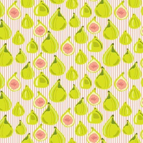 Fig Fruit    Lime Green Food Peach Coral Stripe pinstripe Summer Small Leaf Leaves_Miss Chiff Designs