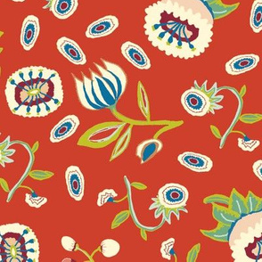 medieval mixed flowers on red (large)