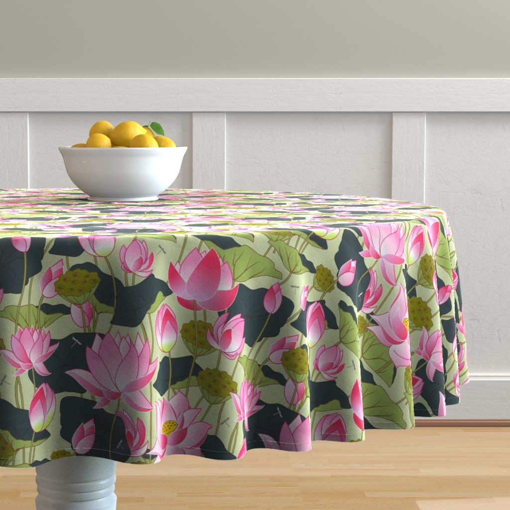 Malay Round Tablecloth featuring lotuses by minyanna