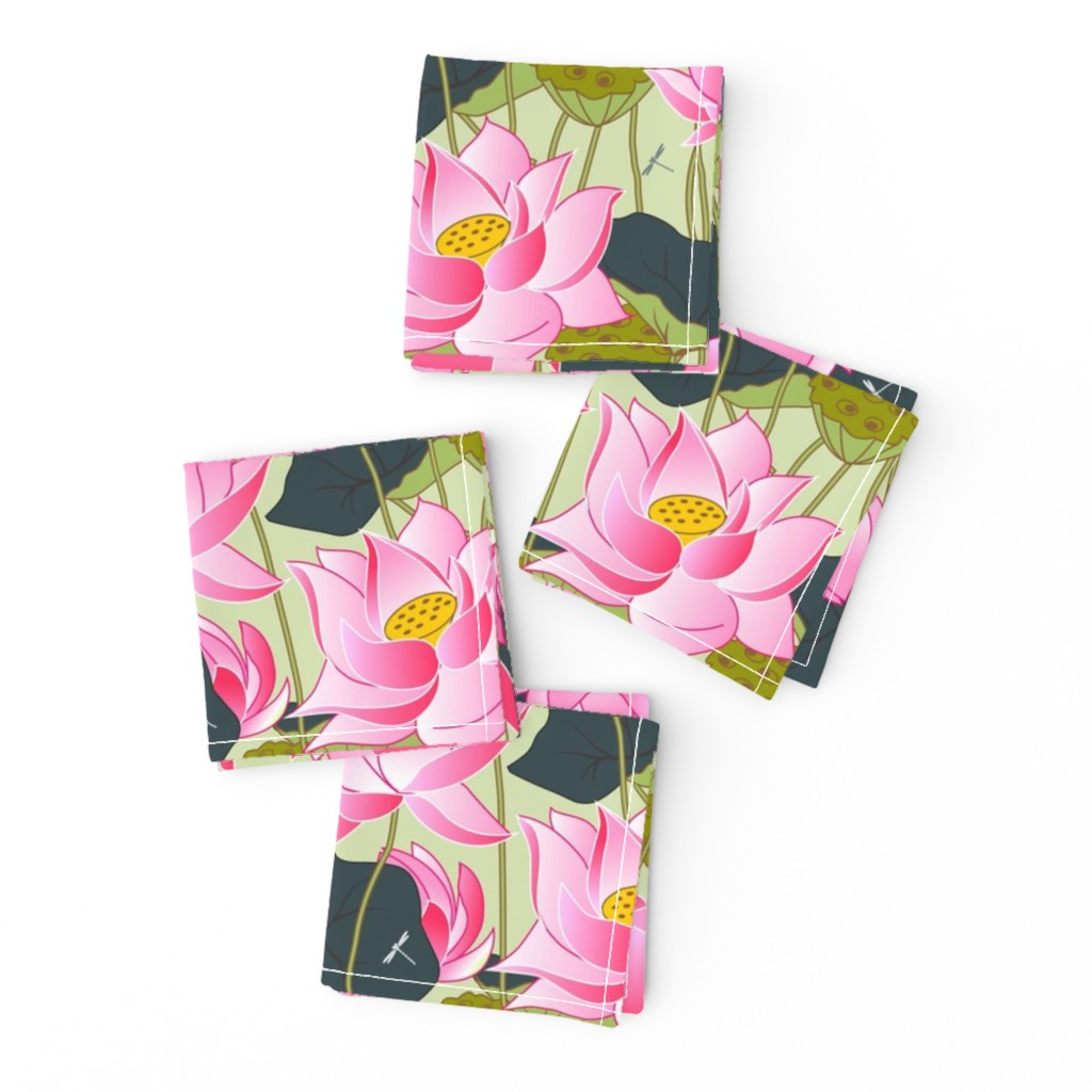 Frizzle Cocktail Napkins featuring lotuses by minyanna