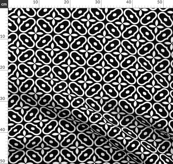 Schwarz und weiß Stoff als Meterware Kreise Mosaik