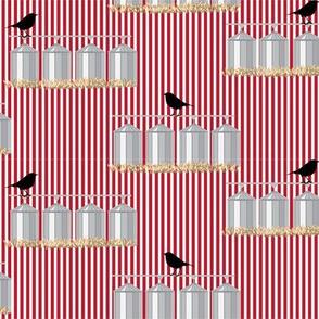 15-04F Farm Bird Farmer Blackbird Grain Red Stripe_Miss Chiff Designs