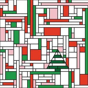 Mondrian Christmas (red & green)