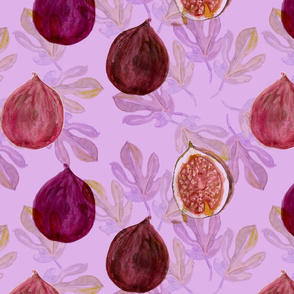 Watercolor Fig and Fig Leaf Harvest