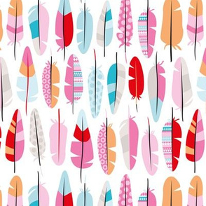 Geometric vintage feathers colorful arrows in pink blue orange summer colors illustration pattern