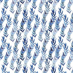 blue watercolor plants