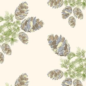 16-19E Pine Cones on Off White || Pinecone tree evergreen cream taupe slate blue  traditional elegant