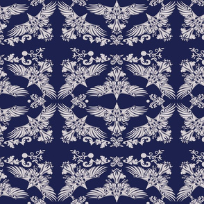 Raven Damask Silver on Blue 2inch